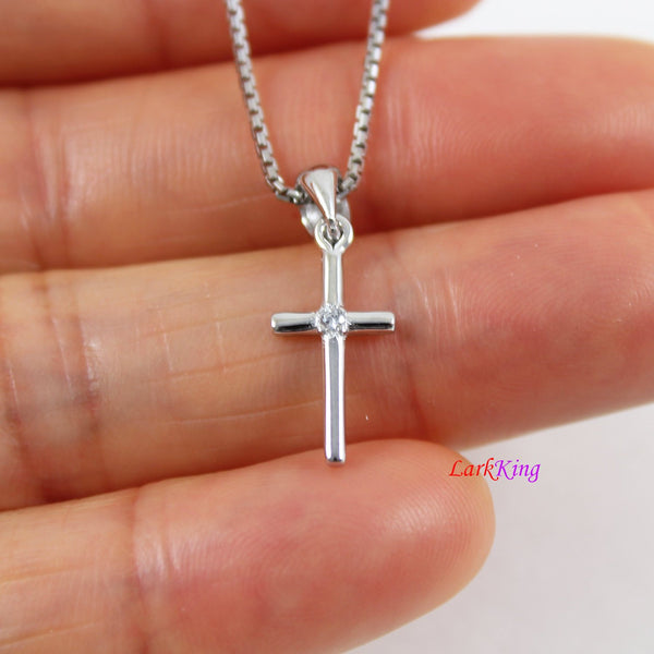 Sterling silver tiny cross necklace, personalized cross necklace, hand stamped initial cross necklace, first communion gift, LK8460