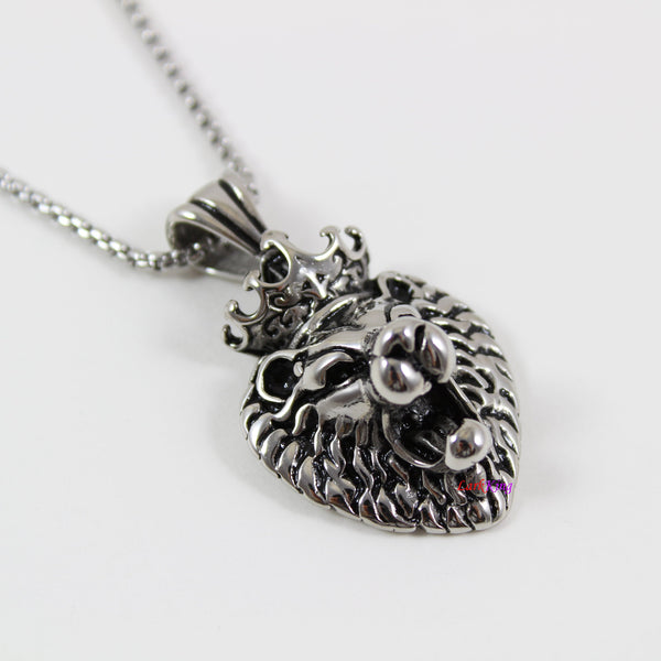 Stainless steel lion necklace, animal necklace, nature necklace, king lion head pendant, men necklace, lion necklace for boys, LK7127