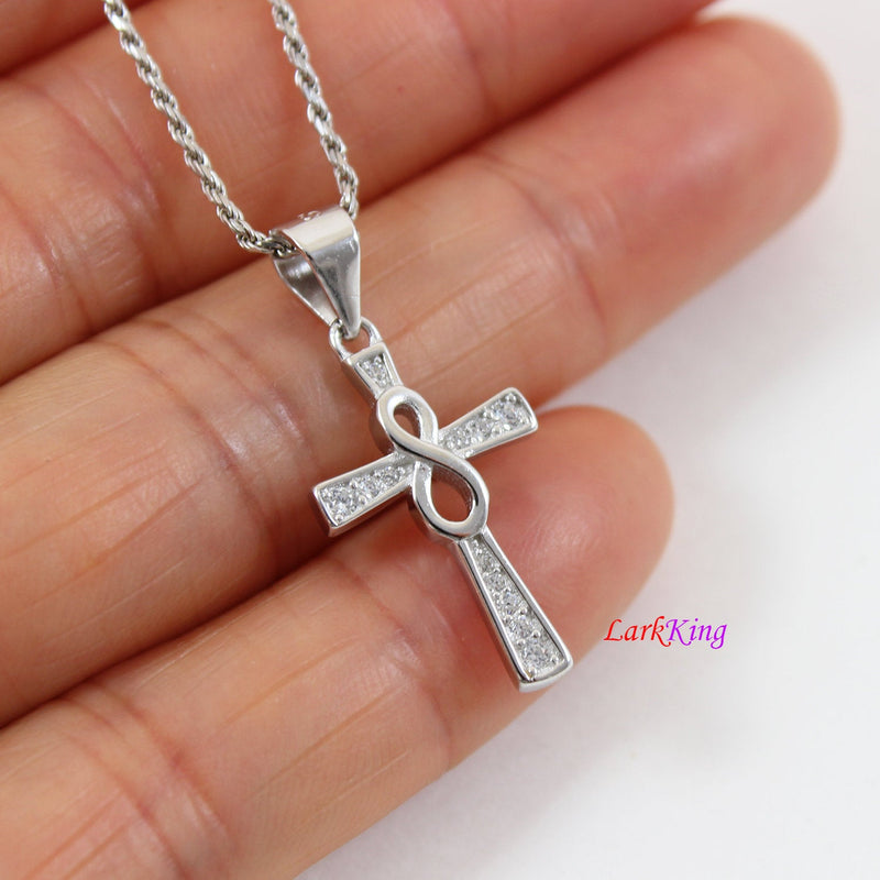 Small cross necklace, sterling silver infinity cross necklace, infinity cross, religious necklace, first communion gift, girl cross, LK8463