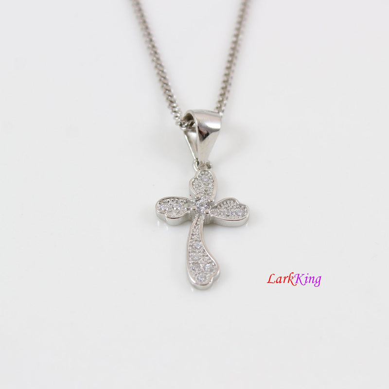 Tiny cross necklace, sterling silver flower cross necklace, art craft cross pendant,  religion cross necklace, christian jewelry,  LK8464