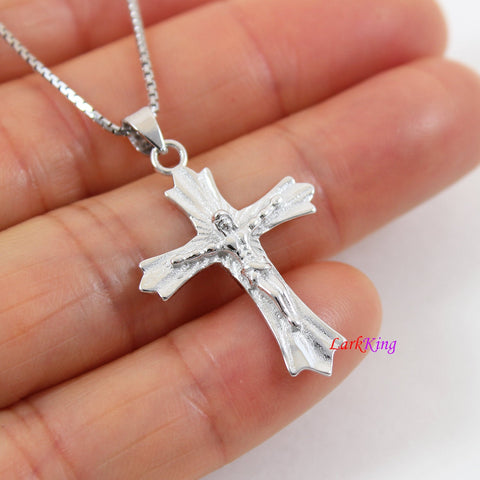 Sterling silver cross necklace, Jesus cross pendant, crucifix cross, cross necklace for men, religious cross, cross necklace boy,  LK8465