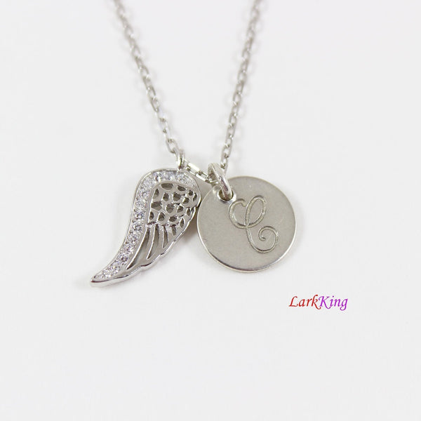 Sterling silver angel wing necklace, personalized necklace, initial necklace, wing necklace, customized necklace, unique gift, NE8411