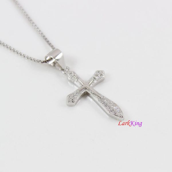 Sterling silver cross necklace, thick cross necklace, double cross pendant, zircon cross necklace, Christian cross, religion jewelry, LK8469