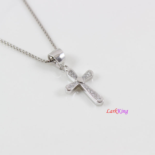 Sterling silver cross necklace, thick cross necklace, unique craft cross pendant, religious necklace, first holy communion necklace,  LK8470