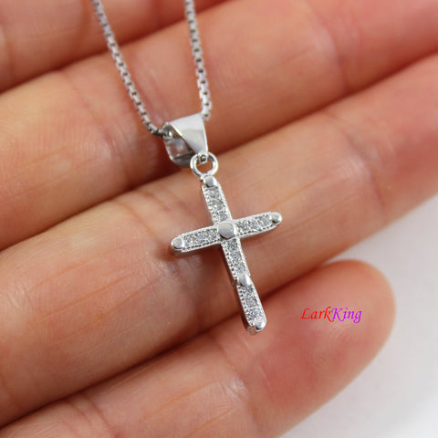 Sterling silver cross necklace, craft cross pendant,  religion cross necklace, Christian jewelry, first holy communion necklace,  LK8468