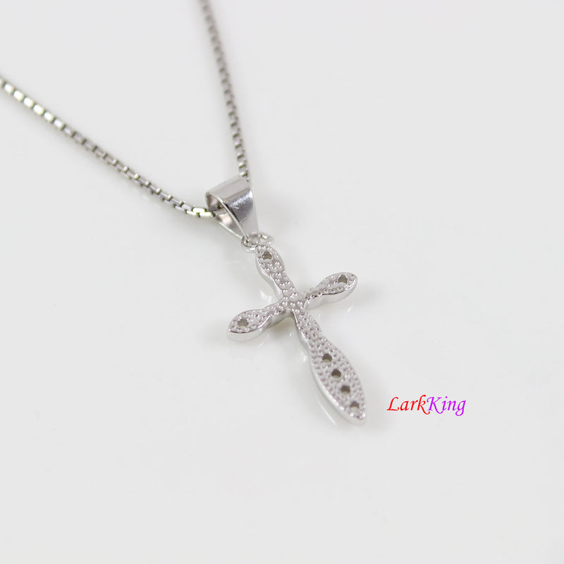 Tiny cross necklace, sterling silver flower cross necklace, small zircon crystal cross necklace, girls cross, christian jewelry,  NE8391