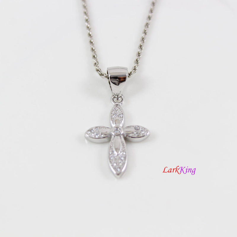 Sterling silver cross necklace, small cross necklace, craft cross pendant, Christian cross necklace, religious jewelry, Baptism gift, LK8473