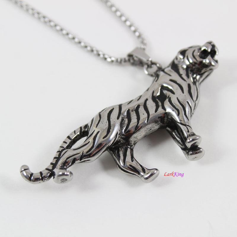 Stainless steel tiger necklace, animal necklace, double sided tiger necklace, running tiger pendant, tiger necklace for men, LK7133