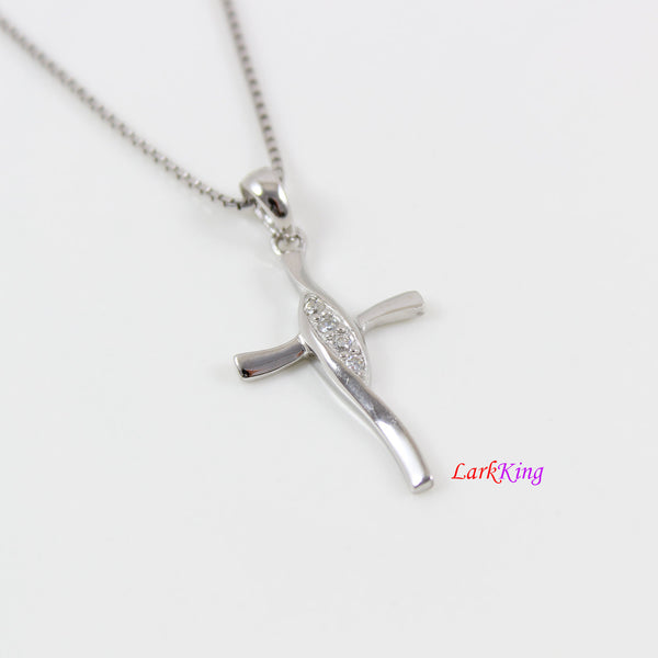 Sterling silver cross necklace, CZ cross pendant, craft cross necklace, cross necklace women, cross necklace men, religious jewelry, LK8479