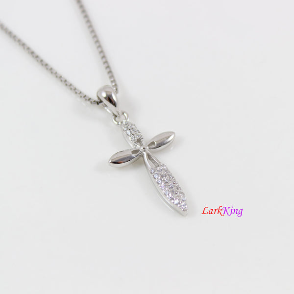 Small cross necklace, sterling silver flower cross necklace, unique craft cross pendant, cross women, girl cross, christian jewelry,  LK8480