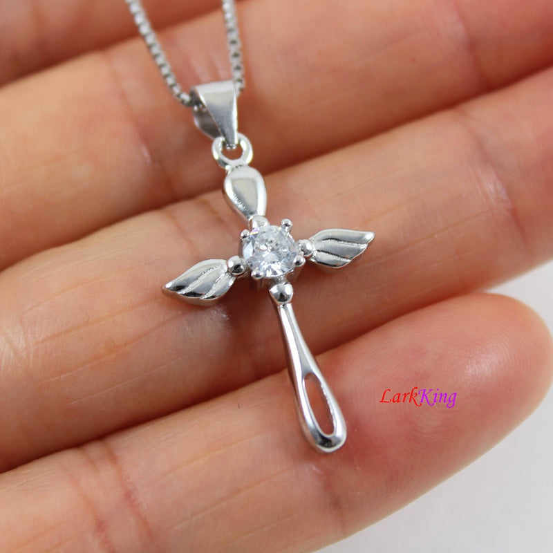Sterling silver angel wing cross necklace, small cross necklace, wings cross pendant, wings necklace, religious necklace, cross girl, LK8481