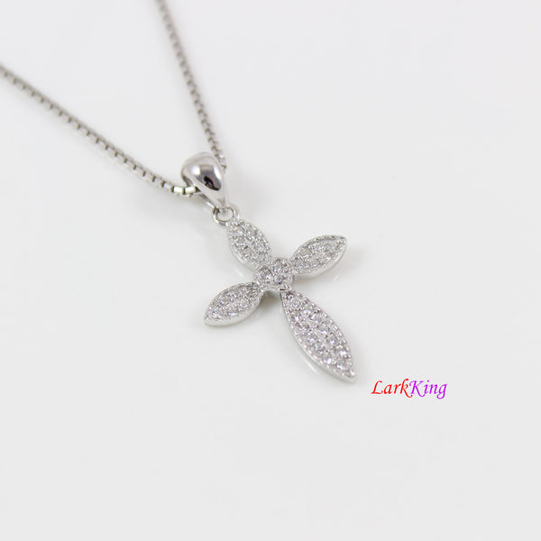 Sterling silver cross necklace, small cross necklace, craft cross pendant, CZ cross pendant, Christian necklace, religious jewelry, LK8482