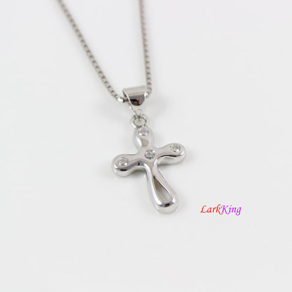 Sterling silver cross necklace, small silver CZ cross necklace, art cross pendant, cross necklace women, cross necklace girl, cross, LK8492