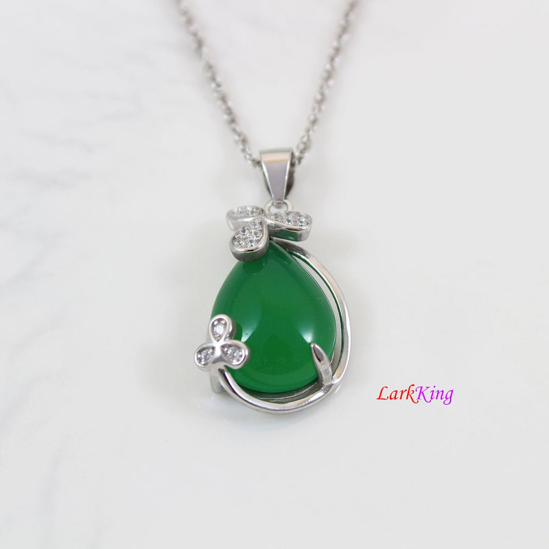 Sterling silver natural jade necklace, 3 leaf clover jade necklace, CZ and jade teardrop silver clover pendant, teardrop jade gift, LK11009