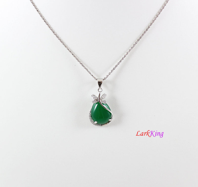 Sterling silver natural jade necklace, dragonfly jade necklace, CZ and jade teardrop silver dragonfly pendant, teardrop green jade, LK11011