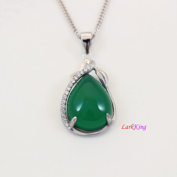 Sterling silver natural jade necklace, simply CZ and jade necklace, silver vine CZ and jade teardrop pendant, emerald jade gift, LK11018