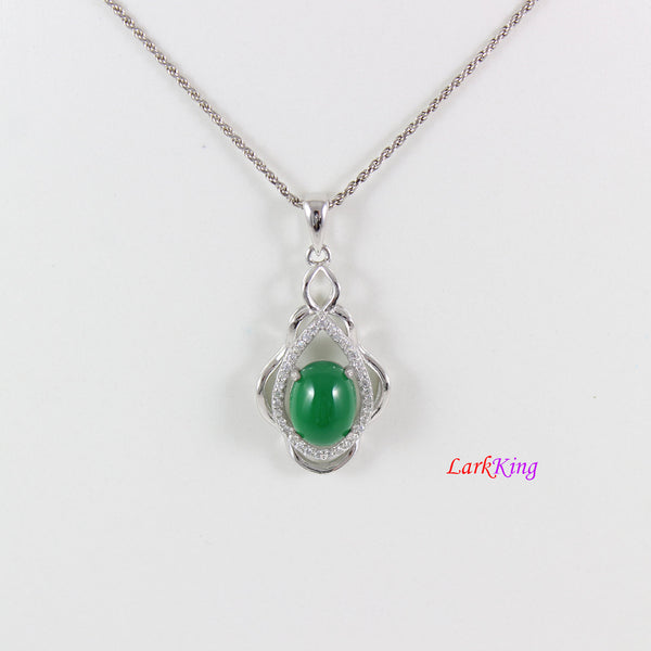 Sterling silver natural jade necklace, emerald jade lantern necklace, green oval jade and CZ pendant, unique silver jade necklace, LK11019