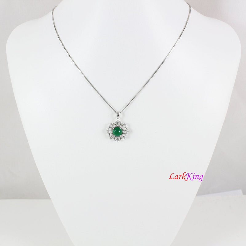 Sterling silver natural jade necklace, emerald jade lotus necklace, green round jade and CZ pendant, unique silver jade necklace, LK11020