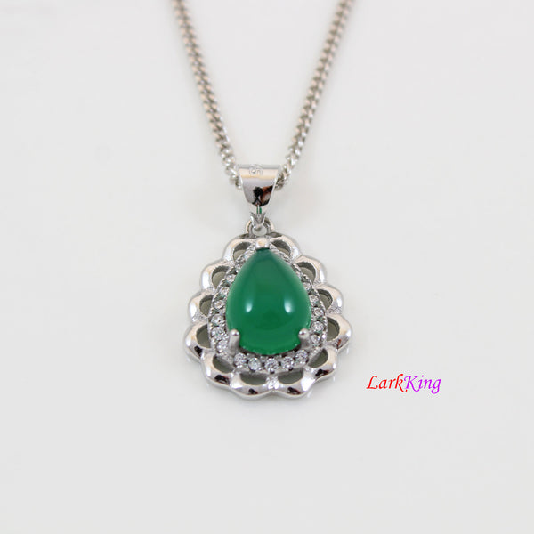 Sterling silver natural jade necklace, emerald jade necklace, green jade teardrop pendant, silver CZ and jade teardrop necklace, LK11021