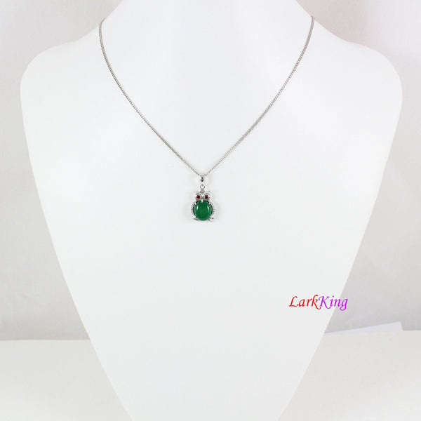 Sterling silver natural jade necklace, owl emerald jade necklace, CZ and jade owl pendant, silver jade oval necklace, jade jewelry, LK11022