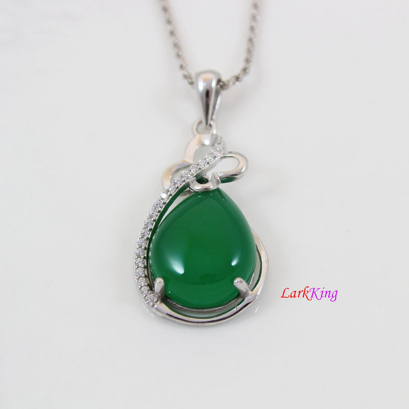 Sterling silver natural jade necklace, emerald jade butterfly necklace, silver CZ & jade teardrop pendant, butterfly jade jewelry, LK11013