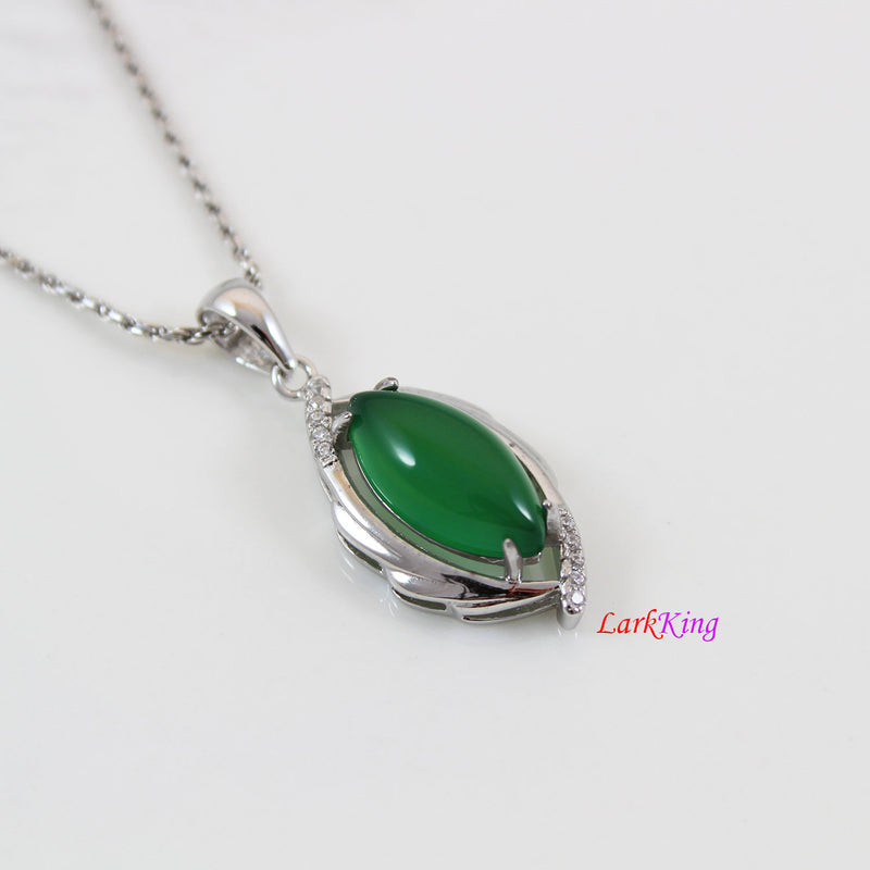 Sterling silver natural jade necklace, football emerald jade necklace, green football jade  pendant, silver jade football necklace, LK11024