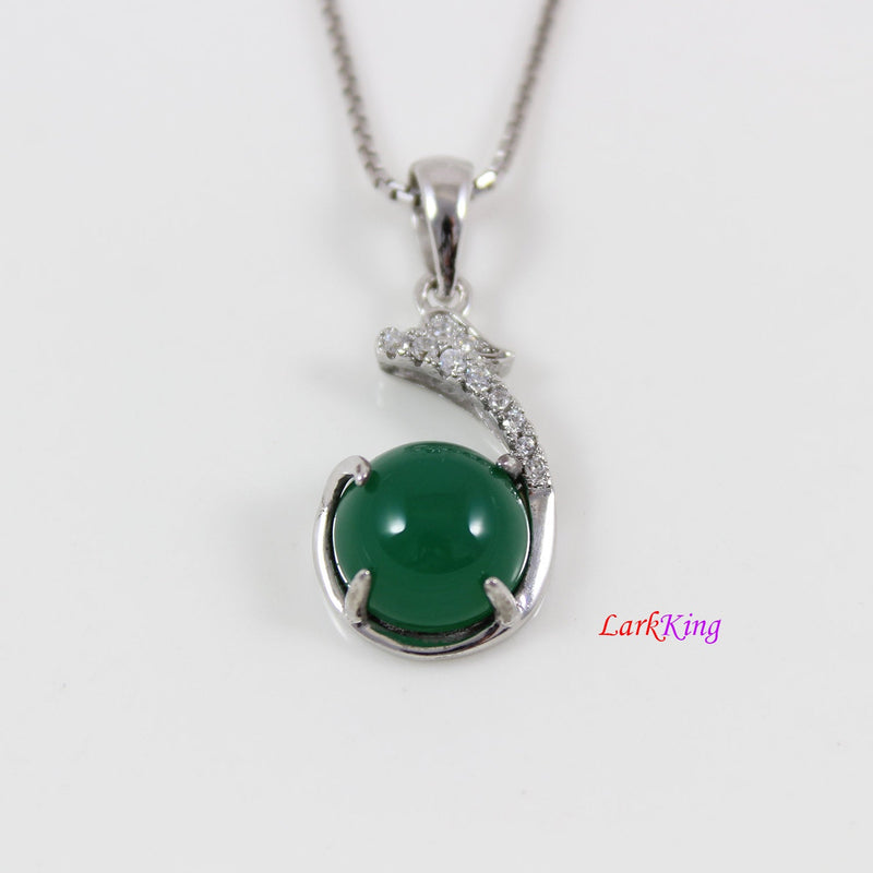 Sterling silver natural emerald jade necklace, emerald jade dragon necklace, dragon holding round jade pendant, silver jade jewelry, LK11028
