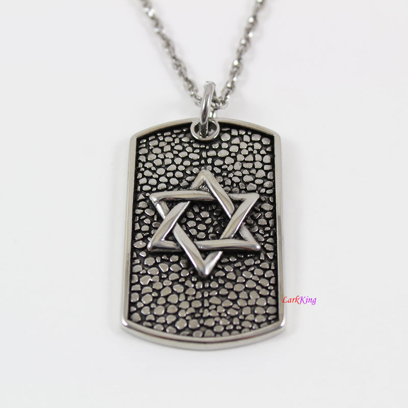 Stainless steel Star of David dog tag necklace, Jewish star necklace, star necklace, Star of David charm, Star of David pendant,  LK7134