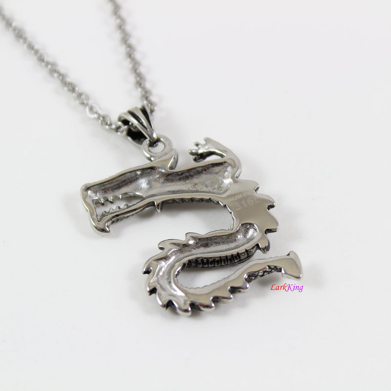 Stainless steel dragon necklace, dragon warrior necklace, fierce dragon necklace, unique dragon pendant, dragon necklace for men, LK7137