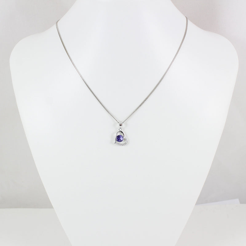 Sterling silver heart necklace, blue purple swarovski crystal necklace, swarovski heart pendant, bridal necklace, anniversary gift, LK11030
