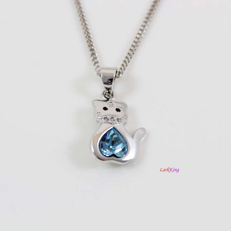 Sterling silver tiger necklace, light blue swarovski crystal tiger pendant , silver swarovski crystal jewelry, birthday gift girl, LK11032