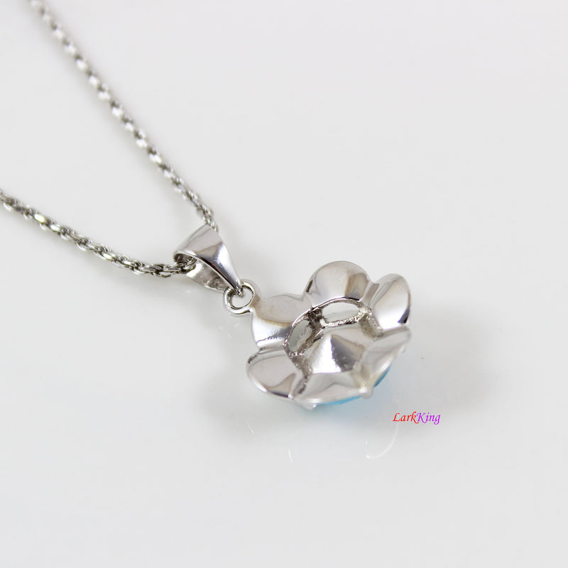 Swarovski aqua crystal flower necklace, sterling silver flower necklace, swaroski crystal flower, anniversary gift, birthday gift, LK11037