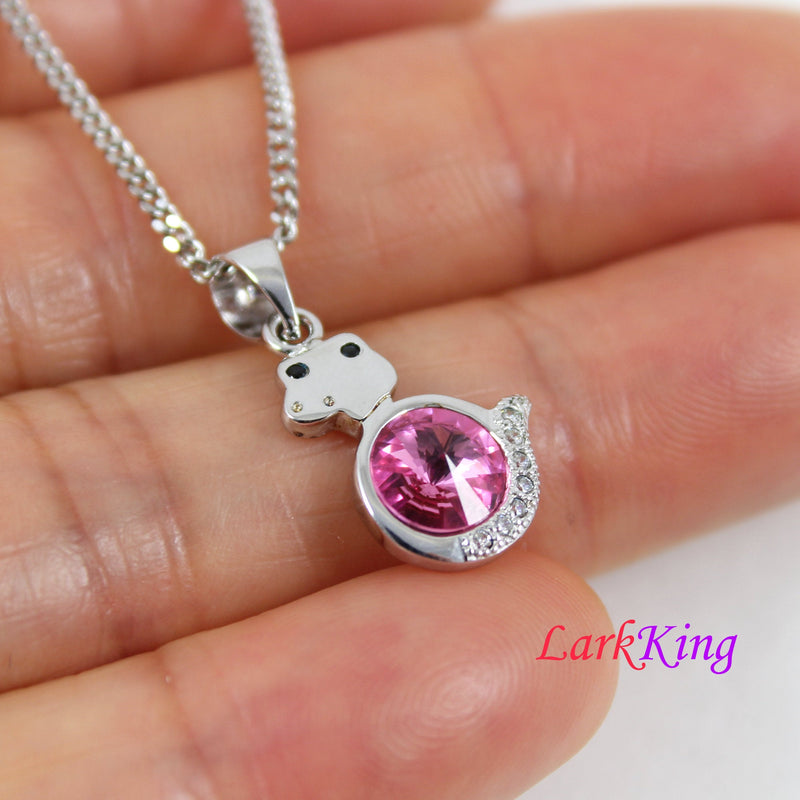 Sterling silver snake necklace, pink swarovski crystal snake pendant, Chinese zodiac necklace, silver necklace, birthday gift girl, LK11045