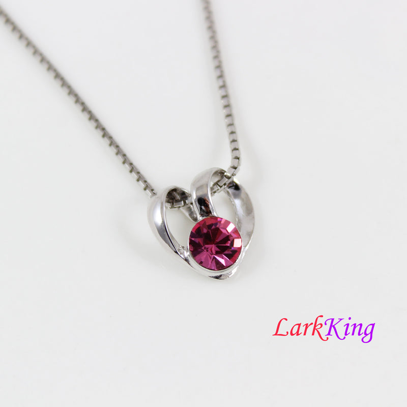 Swarovski pink crystal heart necklace, silver heart necklace, simple heart pendant, heart necklace women, best friend necklace, LK11049