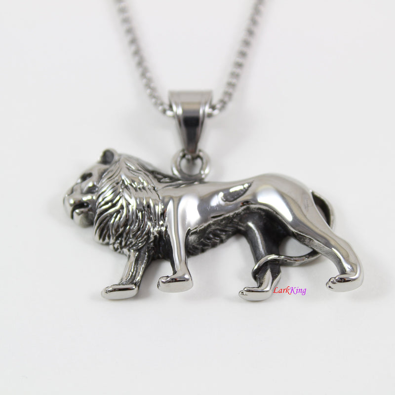 Stainless steel lion necklace, animal necklace, nature necklace, wild lion pendant, men necklace, lion necklace for boy, LK7124