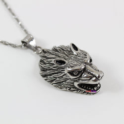 Wolf necklace, animal necklace, stainless steel, wolf head necklace, wolf pendant, unique wolf necklace, popular wolf necklace, LK7125