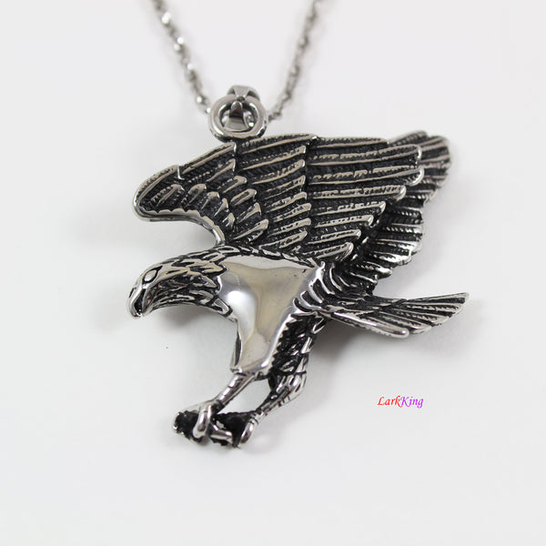 Large bold eagle necklace, animal necklace, stainless steel double sided eagle necklace, bold eagle pendant , eagle necklace for men, LK7130
