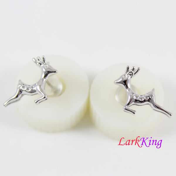 14 K white gold filled sterling silver deer stud earrings, deer earrings, silver stud earrings for girl, stud earrings for women, LK15016