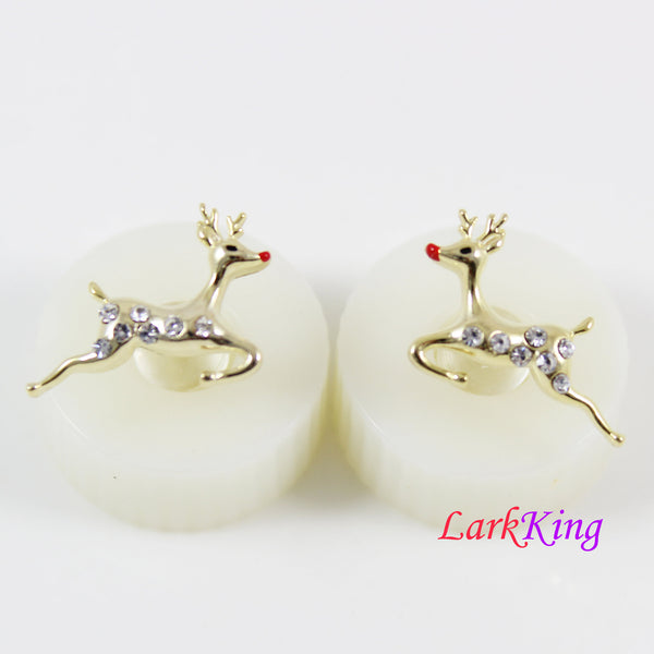 14 K gold filled sterling silver deer stud earrings, deer earrings, silver stud earrings for girl, deer stud earrings for women, LK15022