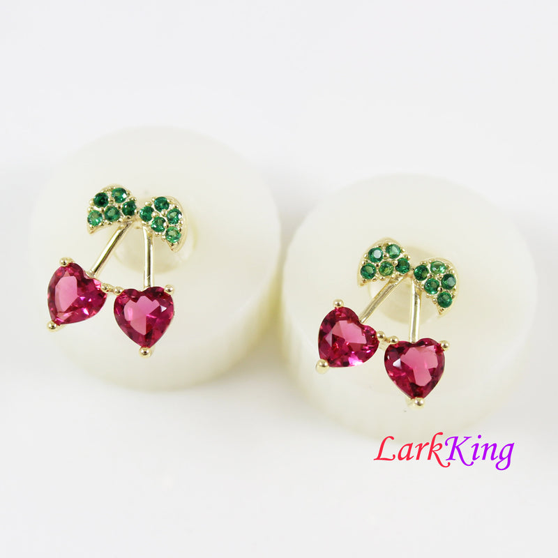 Ruby CZ cherry stud earrings, 14 K gold filled sterling silver earrings, cherry stud earrings, bridal earrings, earrings for women, LK15033