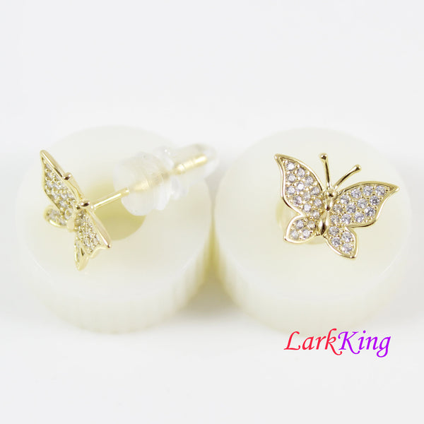 14K gold filled sterling silver butterfly stud earrings, gold butterfly earrings, gold and CZ butterfly earrings, butterfly studs, LK15036