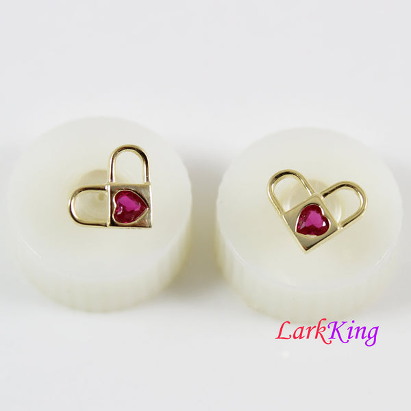 14K gold filled sterling silver heart stud earrings, double lock stud earrings, double heart studs, swarovski red heart studs, LK15039