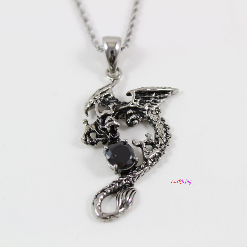 Stainless steel dragon necklace, dragon with ball pendant, dragon warrior necklace, flying dragon necklace,dragon necklace for men, LK7136