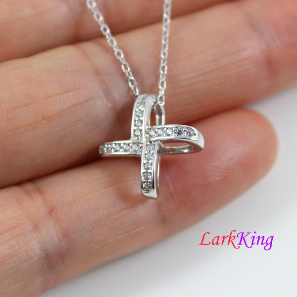 Sterling silver cross necklace, small cross necklace, art decor cross necklace, religious necklace, catholic necklace, cross women, LK8493