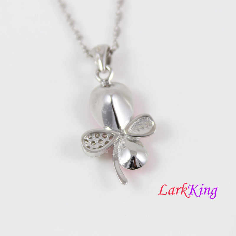 Swarovski pink crystal lucky leaf necklace, sterling silver lucky leaf necklace, unique 4 leafs lucky pendant, swarovski jewelry, LK11047