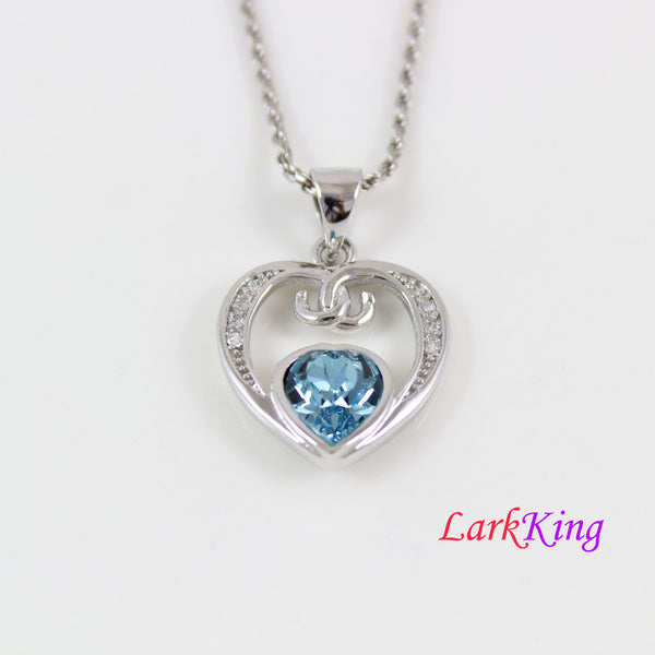 Swarovski blue crystal heart necklace, silver double heart necklace, mother and daughter necklace, valentines gift, heart for mom, LK11054