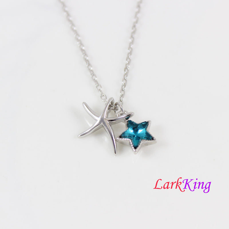 Sterling silver sea stars necklace, swarovski blue crystal star necklace, star necklace for girls, star necklace women, star gift, LK11057