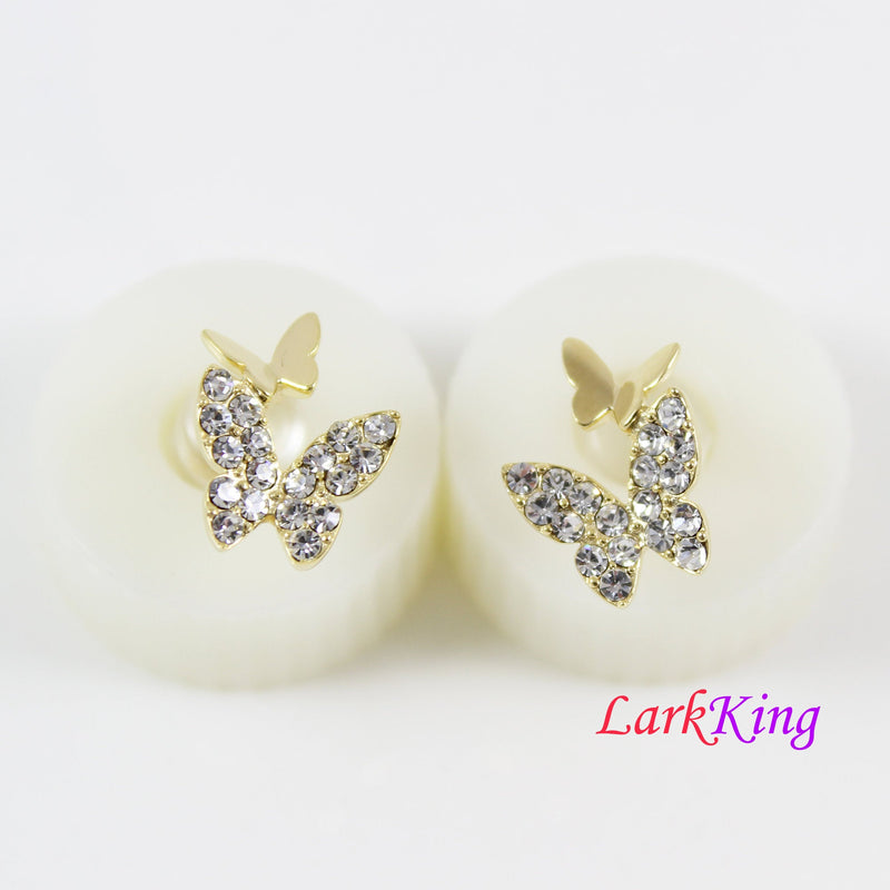 14K gold filled sterling silver butterfly stud earrings, mother and daughter butterfly earrings, gold and CZ butterfly earrings, LK15024