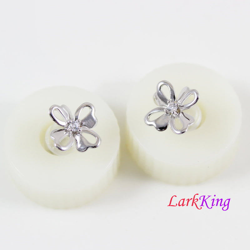 Sterling silver flower stud earrings, small flower studs, silver and CZ flower stud earrings, flower studs for girl, silver studs, LK15042