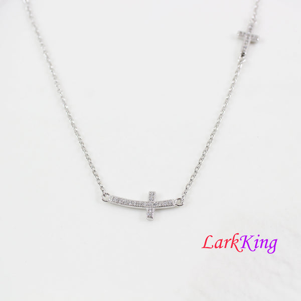 Sterling silver cross necklace, side cross necklace, double cross necklace, religious necklace, catholic necklace, cross for women, LK8496